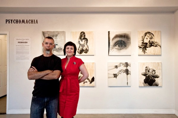 Jerry and Rachel proudly pose on night 2 of the Psychomachia opening!