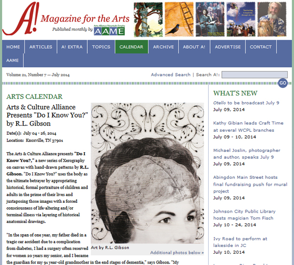 See the work of Artist R.L. Gibson in A! Magazine!