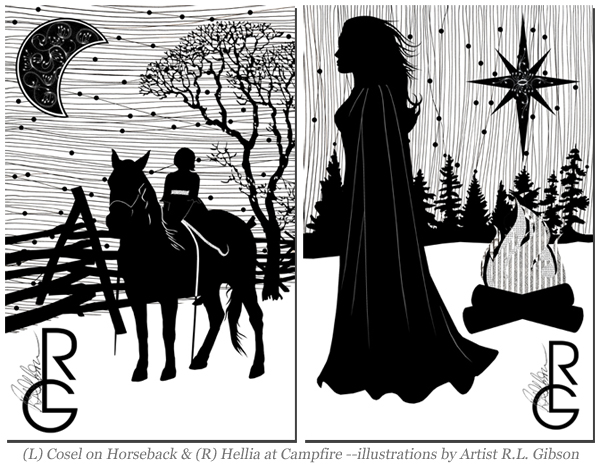 """Cosel on Horseback"" & ""Hellia at Campfire""--illustrations by Artist R.L. Gibson"
