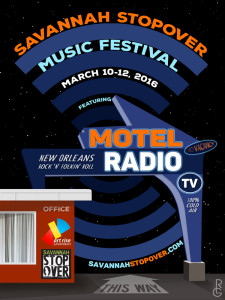 MOTEL RADIO poster for Savannah Stopover Festival by Artist R.L. Gibson