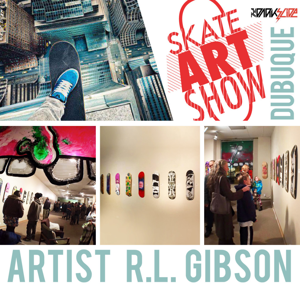 Artist R.L. Gibson at Dubuque Area Arts Collective's Skate Art Show!