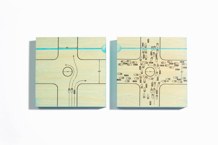"Wilshire Blvd L.A. (diptych), 5""x5""each xerography & acrylic on wood, by R.L. Gibson"